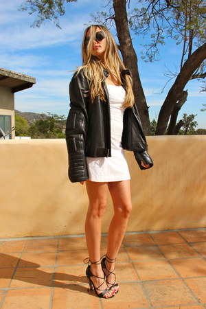 black leather Gucci jacket - white eyelet Guess dress - black LV sunglasses