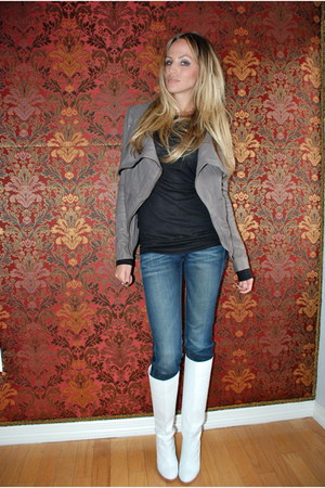 heather gray leather Muubaa jacket - white Marc Jacobs boots - blue Gstar jeans