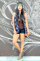 navy H&M top - dark brown tank top Wet Seal top - camel fringe Forever 21 boots
