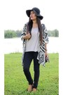 Black-oasap-cardigan-brown-chicnova-sandals-cream-forever-21-top
