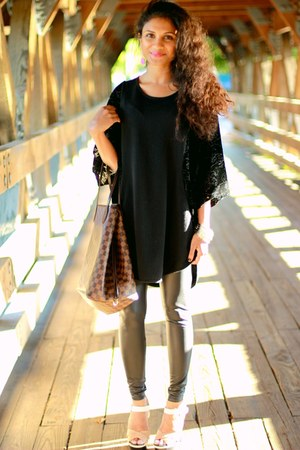 faux leather Topshop tights - Louis Vuitton bag - black Urban Outfitters top