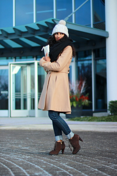 camel Victorias Secret coat - Anne Klein boots - white Akira bag