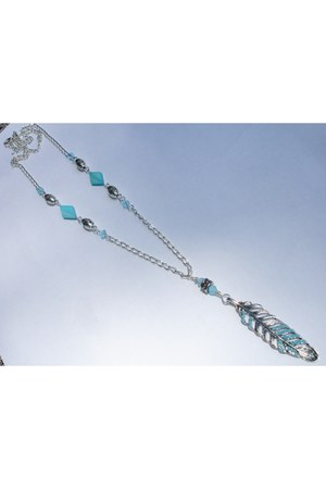 sky blue feather Fire In The Sky necklace