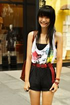black shorts - white top - red belt - brown - red accessories