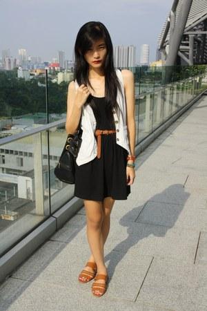black dress - black bag - brown belt - light blue vest - brown sandals