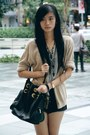 Black-bag-heather-gray-shirt-black-shorts-maroon-sandals-nude-cardigan