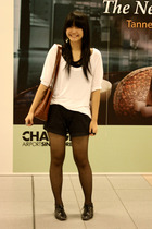 white Marks and Spencers blouse - black from taiwan - black ip zone shorts - bla