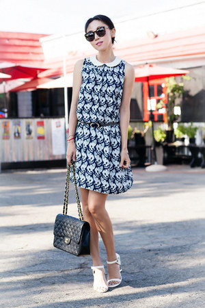 black bag - Chanel bag - Anthropologie dress - Karen Walker sunglasses