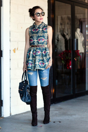 Miu Miu boots - Choies dress - Current Elliott jeans - Karen Walker sunglasses