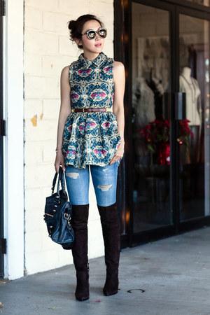 Miu Miu boots - Choies dress - Current Elliott jeans - Karen Walker sunglasses