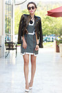 Finders-keepers-dress-alice-olivia-jacket-leather-jacket-clare-vivier-bag