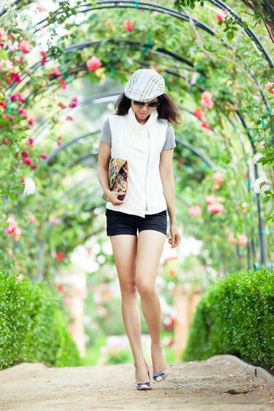 Burberry hat - Anthropologie bag - J Brand shorts - vince vest
