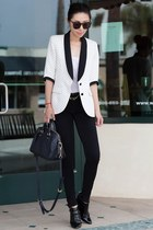 smythe blazer - white blazer - black Jimmy Choo boots - black leggings
