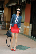 JCrew skirt - JCrew blazer - Louis Vuitton bag - JCrew t-shirt