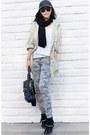 Black-boots-hudson-jeans-asos-hat-black-hat-olive-green-jacket