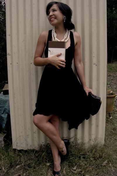 black St Frock dress - silver Mimco earrings - black tony bianco shoes - white F