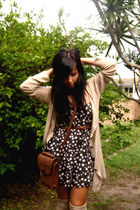black Village Markets dress - beige Witchery cardigan - brown vintage boots - be