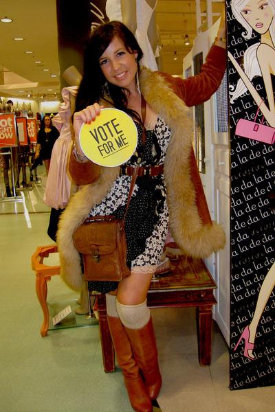 brown vintage coat - brown vintage boots - blue Harah Designs dress