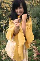 yellow vintage coat - yellow Love St dress - brown vintage belt - gold vintage e