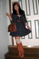 blue St Frock dress - brown vintage boots - beige Dotti socks - blue vintage bla