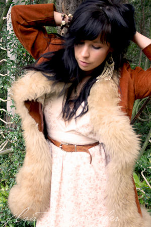 brown vintage coat - beige Village Markets dress - brown vintage belt - gold vin