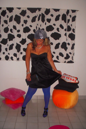 Topshop tights - Forever21 dress - vintage hat - Bakers shoes