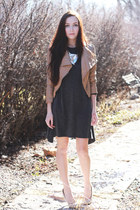 charcoal gray MIAMASVIN dress - camel romwe jacket