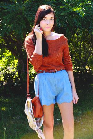 burnt orange Forever 21 sweater - sky blue Chicwish shorts