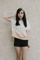 navy Forever 21 shorts - light orange le mont st michel top