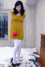 Red-costa-blanca-purse-yellow-buckle-dress