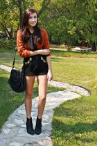 burnt orange Forever 21 sweater - black thrifted shorts