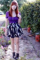 black chic swap Forever 21 skirt - black Spring boots - purple Wet Seal top