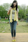Yellow-aldo-shoes-shoes-yellow-le-chateau-scarf-gray-joe-fresh-t-shirt