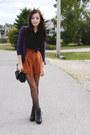 Deep-purple-h-m-sweater-burnt-orange-romwe-shorts-black-clubcouture-blouse