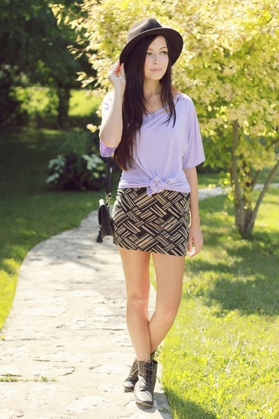 light brown Forever 21 skirt - gray Forever 21 boots - black Forever 21 hat