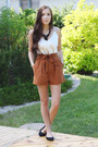Burnt-orange-romwe-shorts-black-romwe-necklace