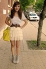 White-forever-21-skirt-gray-aldo-shoes-yellow-aldo-bag