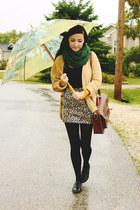 green Ardene scarf - brown romwe bag - light brown Wet Seal skirt
