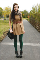green American Apparel tights - black romwe boots - camel romwe dress