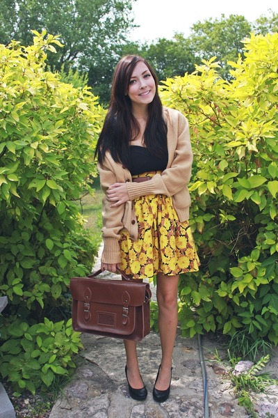 brown romwe bag - yellow skirt made by me skirt