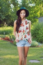 green Forever 21 hat - red romwe blouse