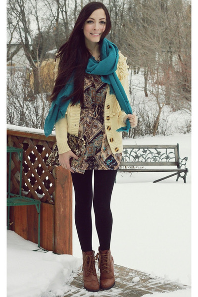 turquoise blue Happy Scarf scarf - light brown romwe boots