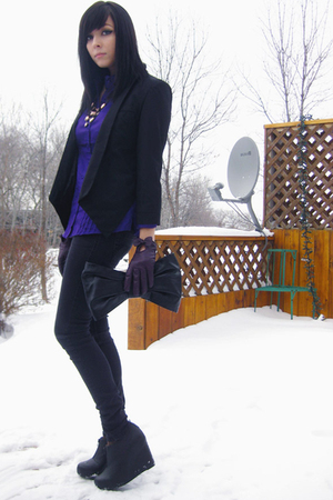 black Jeffrey Campbell shoes - black le chateau purse - purple Smart Set blouse