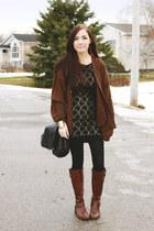 dark brown Aldo boots - black ClubCouture dress