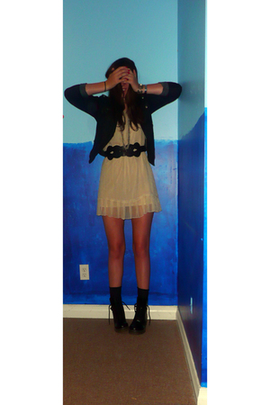 Forever 21 dress - Forever 21 jacket - Forever 21 belt - go jane boots