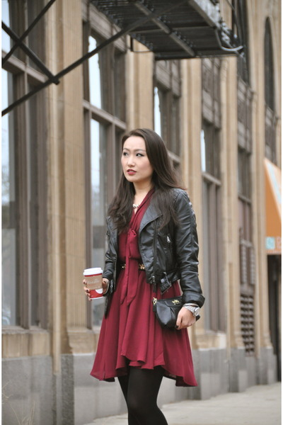 black Zara boots - crimson DLR Boutique Chicago dress - black H&M jacket