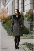 banana republic coat - banana republic shoes - Anthropologie dress - coach bag