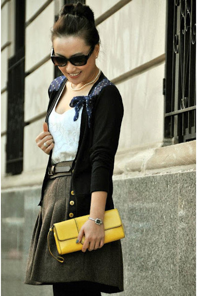 yellow banana republic bag - banana republic top - dark brown Gap skirt