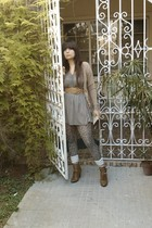 brown same fashion store shoes - beige Calliope cardigan - green Bershka dress -