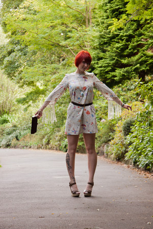 eggshell hummingbirds Topshop dress - crimson clutch thrifted vintage bag